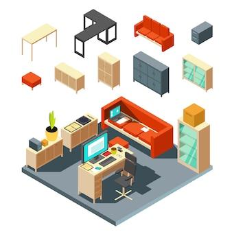 Набор элементов интерьера изометрические офиса. плоский стиль векторные иллюстрации. интерьер с мебельным столом и креслом