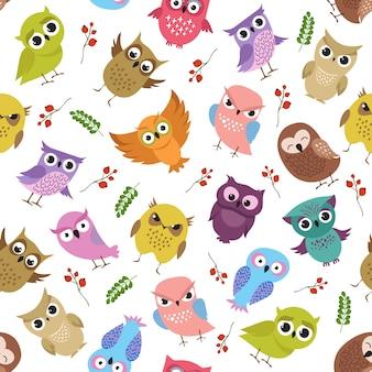 Симпатичные совы вектор бесшовные модели