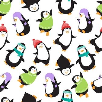 Симпатичные рождественские детские пингвины вектор бесшовный фон