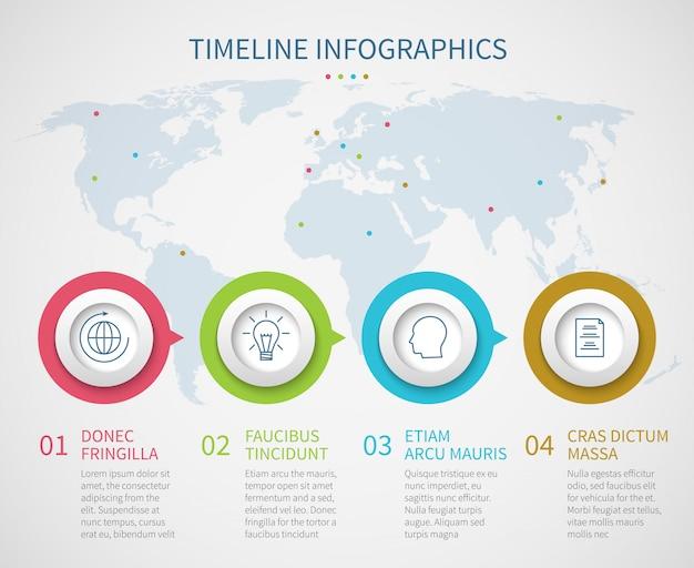 プロセスステップを含むビジネスチャートのタイムライン。ベクトル進行フロー図インフォグラフィックテンプレート