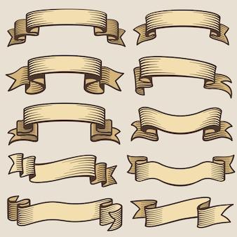 ビンテージデザインバナーリボン。空白の古いベクトルラベル