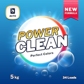 クリーンパワー - 石鹸と洗濯用洗剤の包装。粉末洗剤製品ラベルのベクトル図です。パッケージパワーパウダー