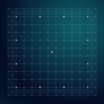 未来的なハッドインターフェイスのためのグリッド。ラインテクノロジーのベクトルパターン。デジタル画面インタフェース表示、未来的なユーザーシステムの図の電子グリッド