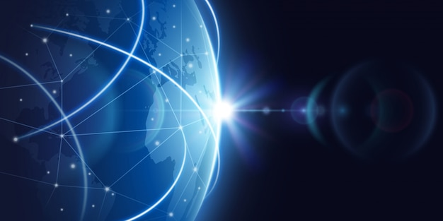 未来的なグローバルインターネットネットワークの背景。世界的なグローバリゼーションベクトルの概念