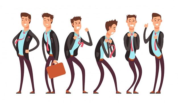 さまざまな感情状態のビジネスマン、恐れ、怒り、喜び、不快感、うつ病、満足感。ベクトル漫画の文字セット