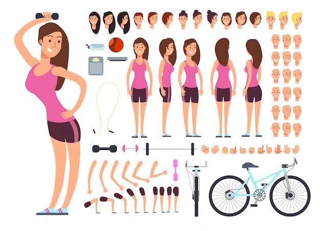 若いフィットネス女性、スポーツウーマン。女性の身体部分とスポーツ用品の大きなセットを持つベクトル作成コンストラクター