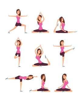 ヨガの練習や瞑想をする若い女性。トレーニングアーサナ姿勢ベクトルセットのフィットネス女の子