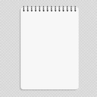 垂直ノート - 透明な背景に分離されたきれいなメモ帳のモックアップ