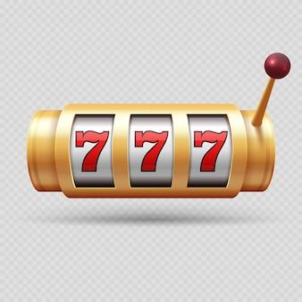 リアルなカジノのスロットマシンまたはラッキーシンボル分離ベクトルオブジェクト