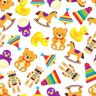 人気の赤ちゃんのおもちゃのシームレスパターン