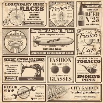 Старинные газеты рекламные этикетки векторный набор