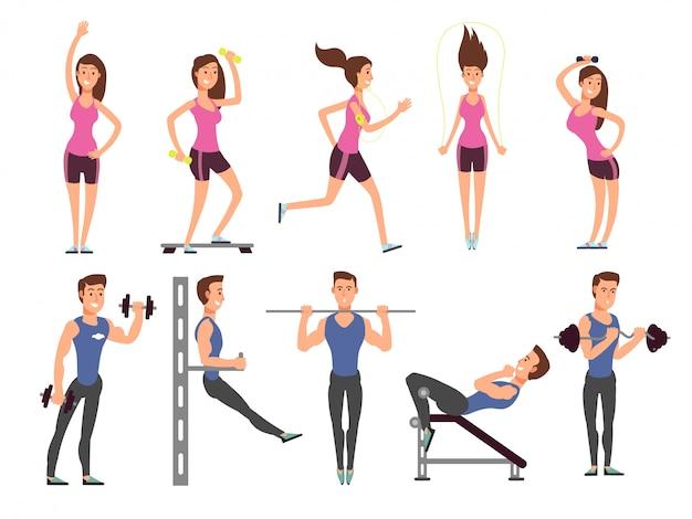 フィットネスの人々はベクトル漫画のキャラクターを設定します。女性と男性のスポーツ選手はスポーツ用品でエクササイズをする