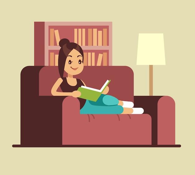 若い女性がソファで本を読んでいます。自宅でリラックスできるベクトルの概念。ソファ、研究と教育の図に関する本を読む少女