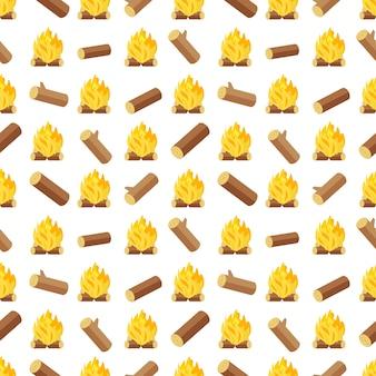 木材ログと焚き火のシームレスなパターン