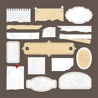 古い紙、バッジおよびイメージフレームを持つレトロなスクラップブッキングベクトルコレクション。抽象的な紙のレトロな空白のステッカー要素の図