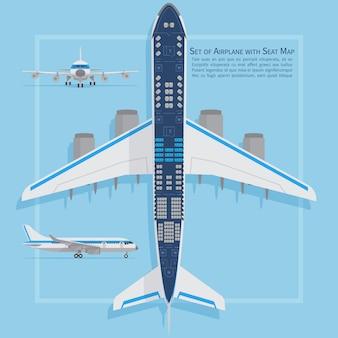 航空機用シートは平面図です。ビジネスとエコノミークラスの飛行機の屋内情報マップ。ベクトルイラスト旅客機の海図平面シート、平面図