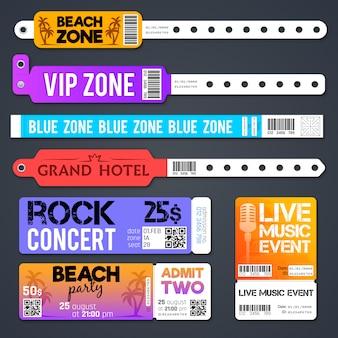 イベント入り口ベクトルブレスレットとスタジアムゾーン入場チケットテンプレートが分離されました。入場用ブレスレットとコンサートイラストの提示を認める