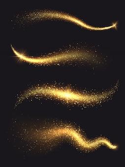 Сверкающая звездная пыль. золотой сверкающий волшебный вектор волны с коллекцией золотых частиц