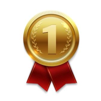 Золотая медаль победителя с красными лентами