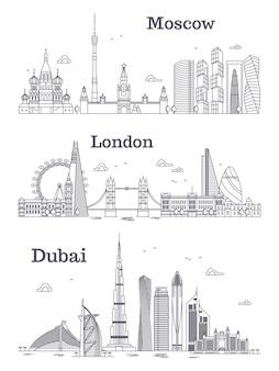 モスクワ、ロンドン、ドバイの線形ランドマーク