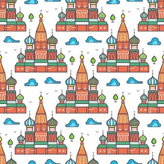 有名なモスクワ大聖堂のシームレスパターン設計 - ロシアのランドマークテクスチャ。ベクトルイラスト