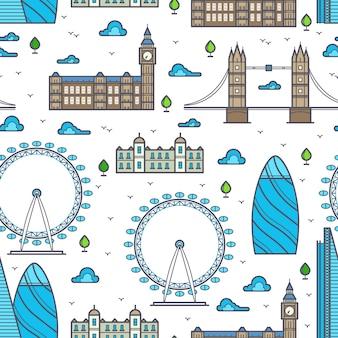 ラインロンドンの橋、スカイラインと観光スポットのシームレスパターン