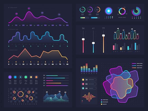 テクノロジーグラフィックとオプションおよびワークフローチャートを含む図。ベクトルプレゼンテーションインフォグラフィック要素