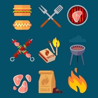 平らなバーベキューの要素のセットです。キャンプのベクトル図が分離されました。バーベキュー肉料理、健康的な牛肉のグリル