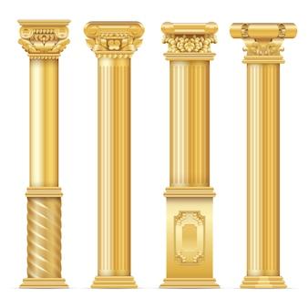 クラシックなアンティークゴールドのコラムセット。建築コラム、建築の古典的な柱の