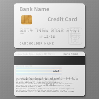 分離されたチップテンプレートと現実的な白い銀行クレジットカード。破片が付いている銀行カード、クレジットのプラスチック銀行カード