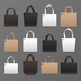 空白の白、黒、茶色のキャンバスショッピングバッグのテンプレート。ハンドバッグのモックアップ。ハンドル付きエコファブリックコットンテンプレートバッグ
