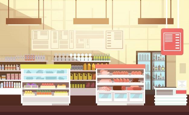 モダンなスーパーマーケットの空のインテリアフラット