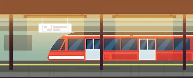 Пустой интерьер станции метро с поездом метро