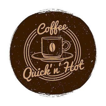 Кафе или кафе на рынке этикетка в стиле гранж