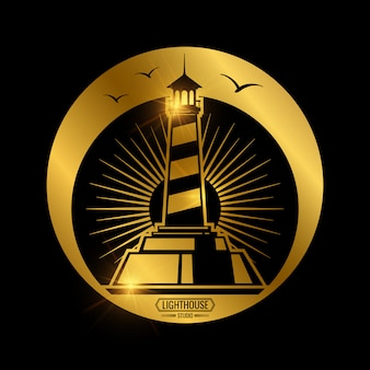 灯台とヴィンテージの航海ラベル