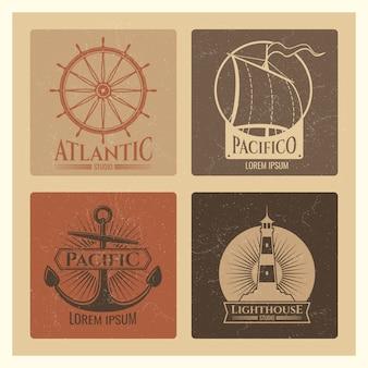 Старинные морские этикетки с маяком, морской лодкой и якорями