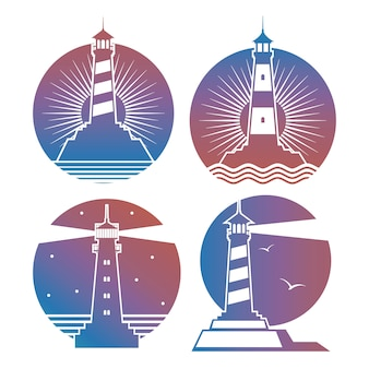 Современные яркие маяки, эмблемы или логотипы