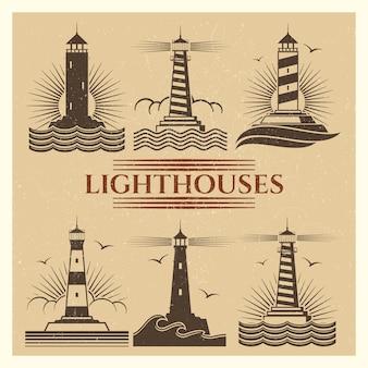 Старинные маяки набор логотипов