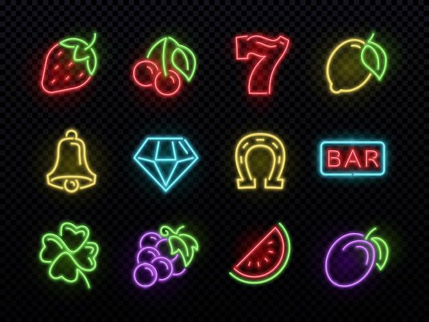 スロットマシンの明るいネオンのシンボル。カジノの光ギャンブルのアイコン。アイコンカジノゲームネオン、フォーチュン、ギャンブルのセット