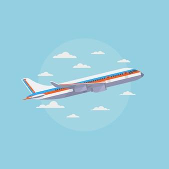 Самолет в голубом небе с белыми облаками. путешествия и авиаперевозки