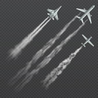 結露スモーキートレイル分離コレクションを持つ飛行機と軍の戦闘機。
