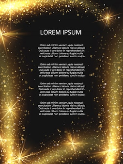 Золотой сверкающий волшебный блеск постер