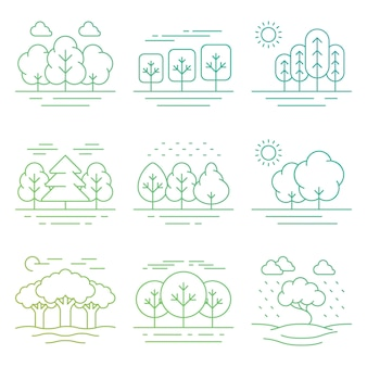 Яркая природа лесной пейзаж тонкие линии иконки, изолированные на белом
