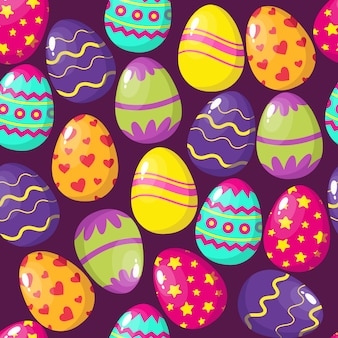 ハッピーイースターの卵のシームレスパターン