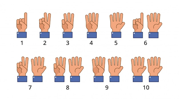 Считая руку. жесты обратного отсчета, языковые номера плоские знаки изолированы