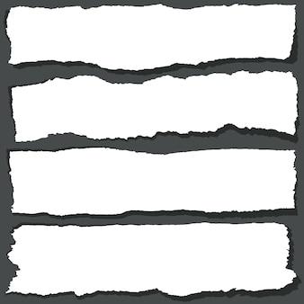 ギザギザの縁の引き裂かれた紙のリボン。抽象的なグランジ紙シートセット