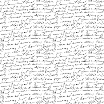 白い繰り返し背景に黒の手書きのテキスト。