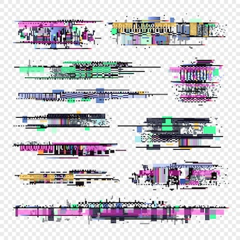 グリッチ要素グリッチコンピューター画面のデジタルノイズコレクション。