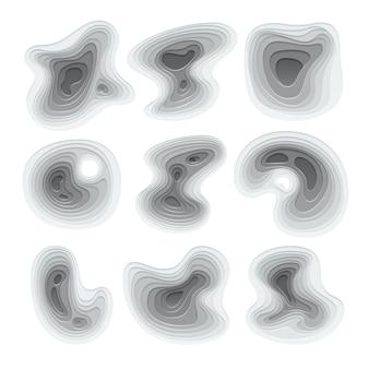 抽象的な紙はビジネスパンフレットの幾何学的な湾曲した抽象的な要素をカットしました。