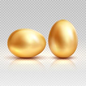 黄金の卵イースターグリーティングカードのための現実的なイラスト。